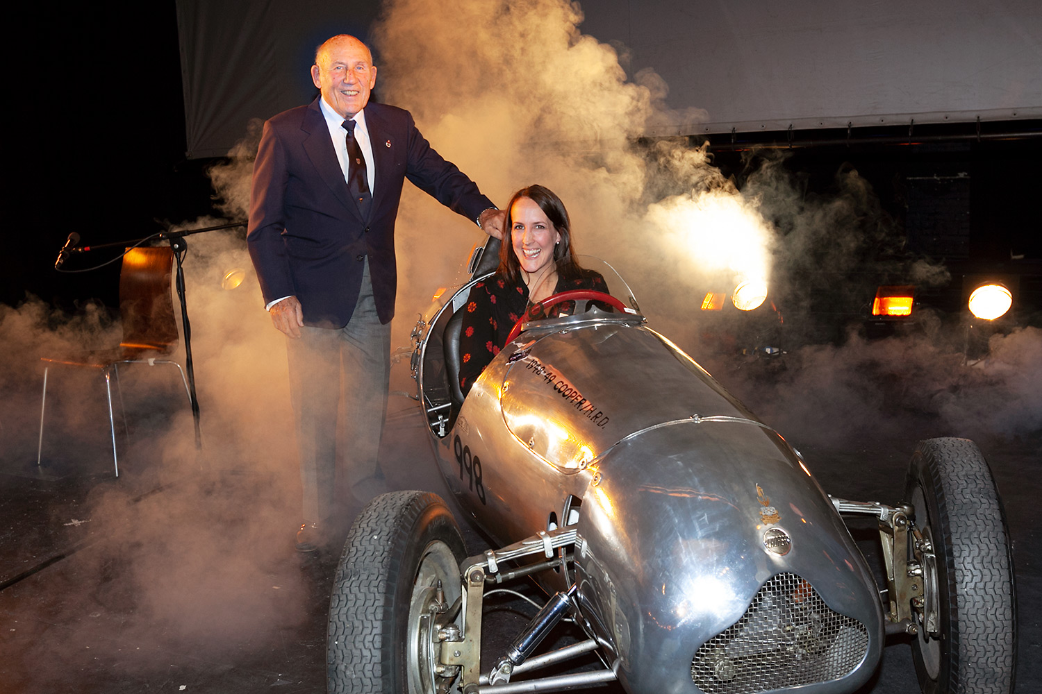 Sir Stirling Moss on stage at Theatre Royal, Bury St Edmunds.