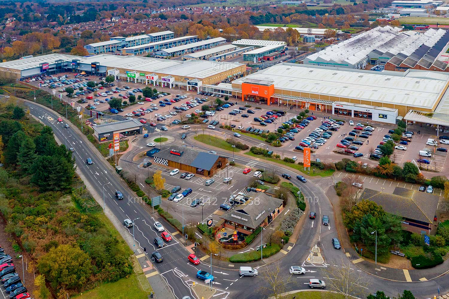 Commercial aerial photography of Ipswich retail park photographed using a drone. Photo: Keith Mindham Photography