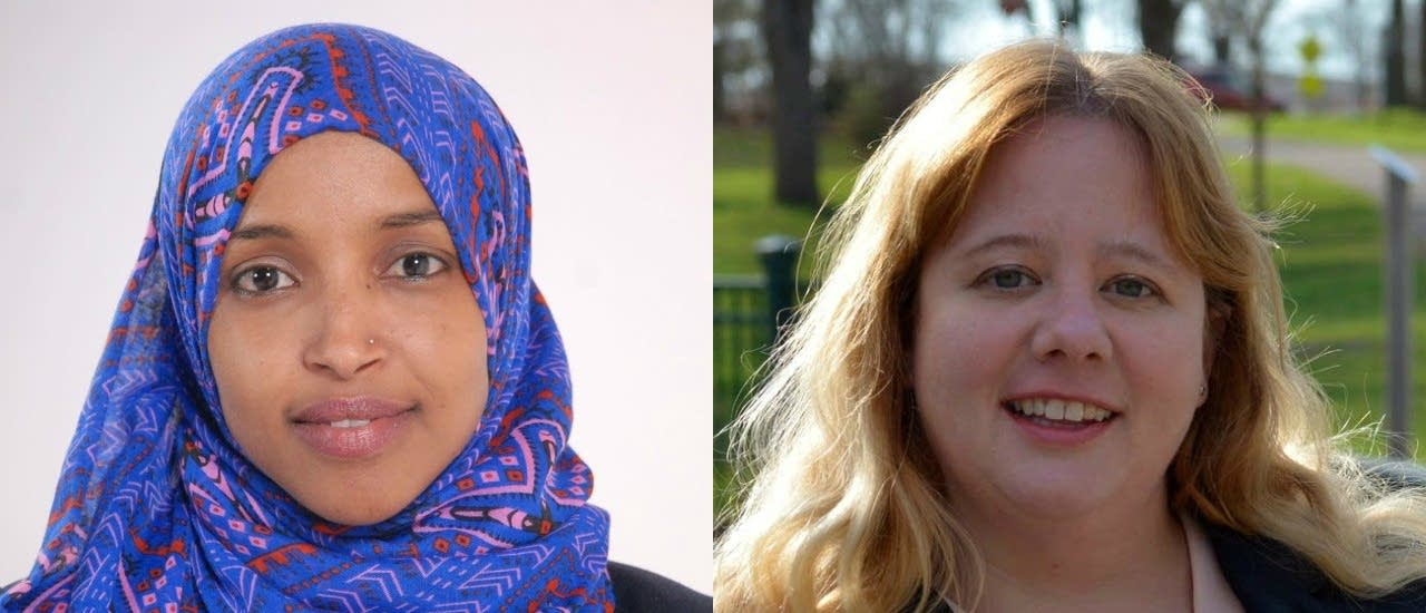 Democrat Ilhan Omar (left) and Republican Jennifer Zielinski are competing to represent Minnesota's 5th congressional district, one of 26 districts nationwide with two major party women running.    Photos: Omar by Tim Nelson, MPR News   Zielinski courtesy of the campaign