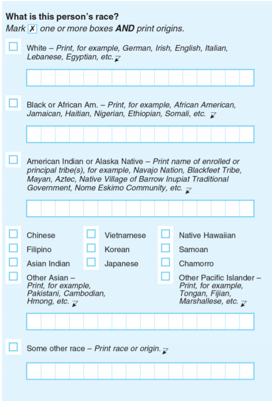 Above is the race question that will appear on the 2020 census.