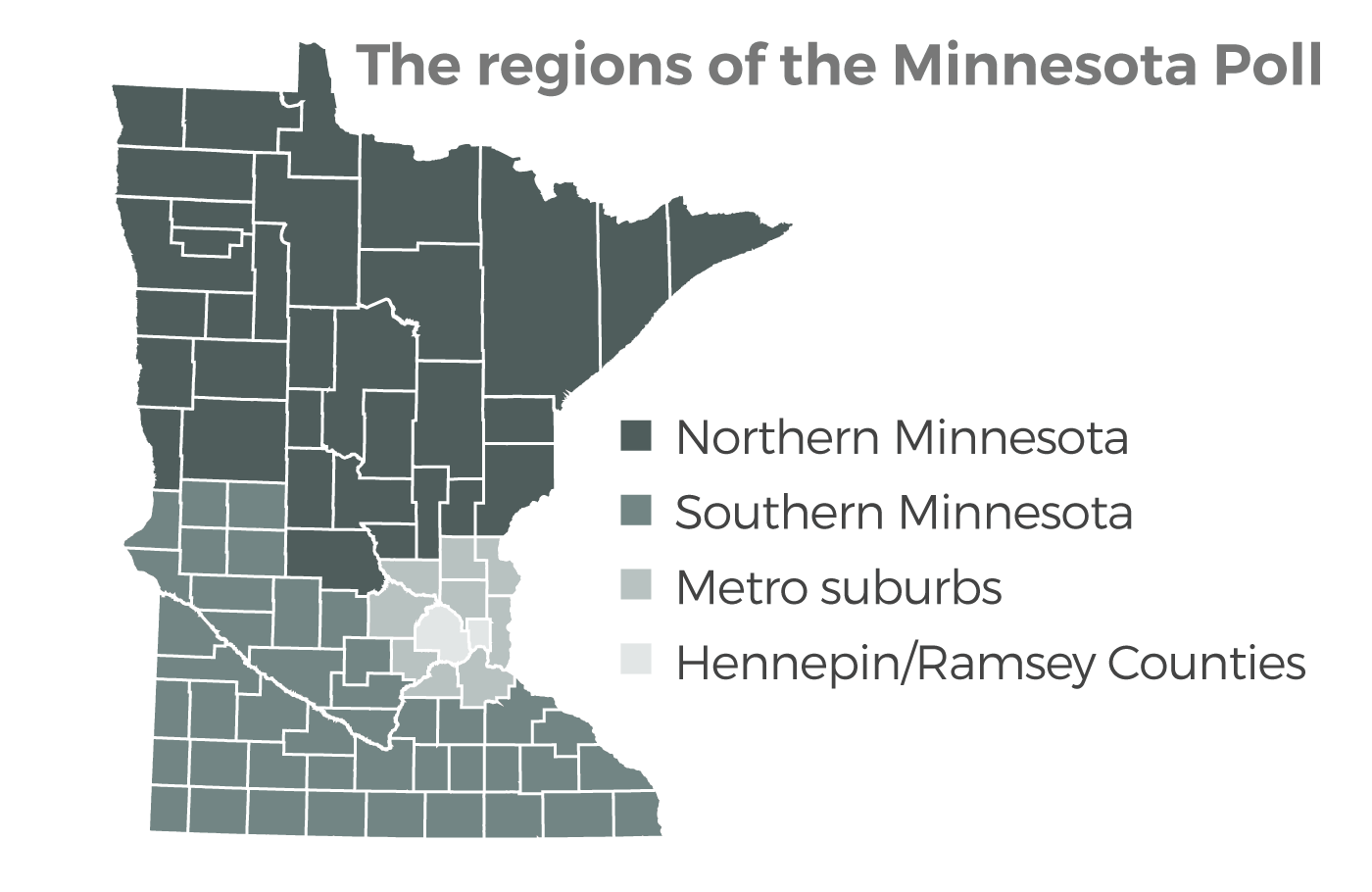 Regions surveyed for MPR News | Star Tribune Minnesota Poll   Graphic: William Lager | MPR News.