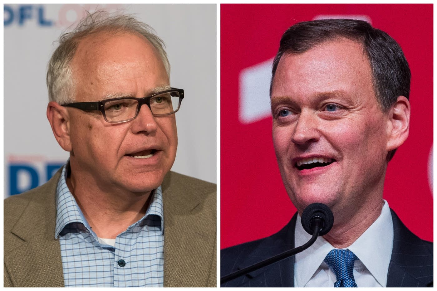 Democrat Tim Walz (left) and Republican Jeff Johnson (right) are both vying to replace Democrat Mark Dayton as Minnesota's next governor.   Photo: Lacey Young | MPR News (l) and Derek Montgomery for MPR News.