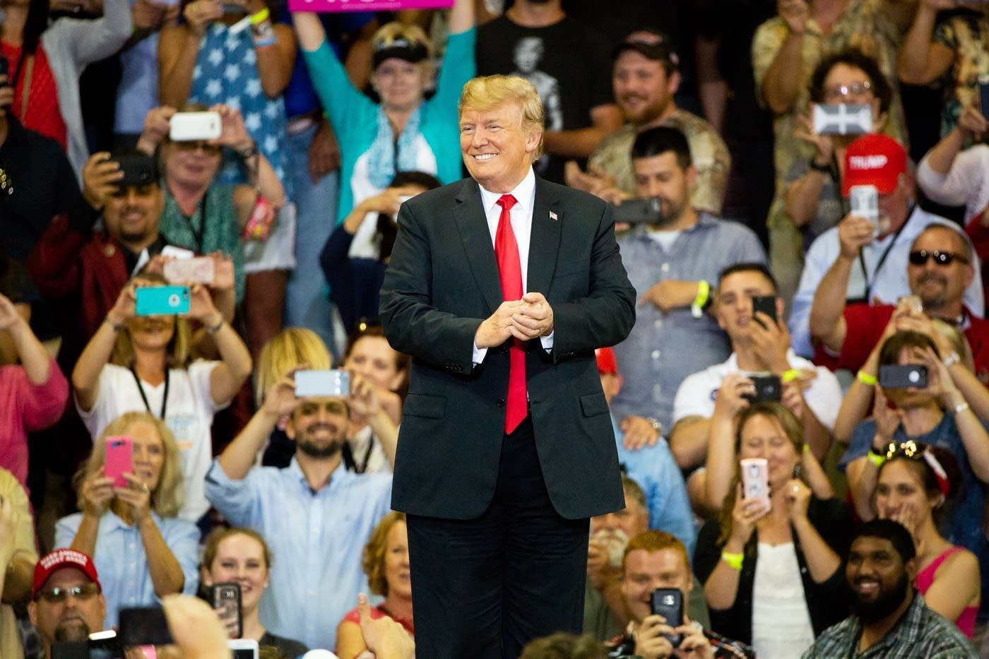 President Donald Trump smiles at the crowd inside of Amsoil Arena in Duluth, Minn. on Wednesday, June 20, 2018.    Photo: Evan Frost | MPR News.