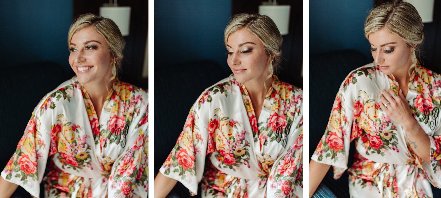 bridal hair and makeup on wedding day in columbus