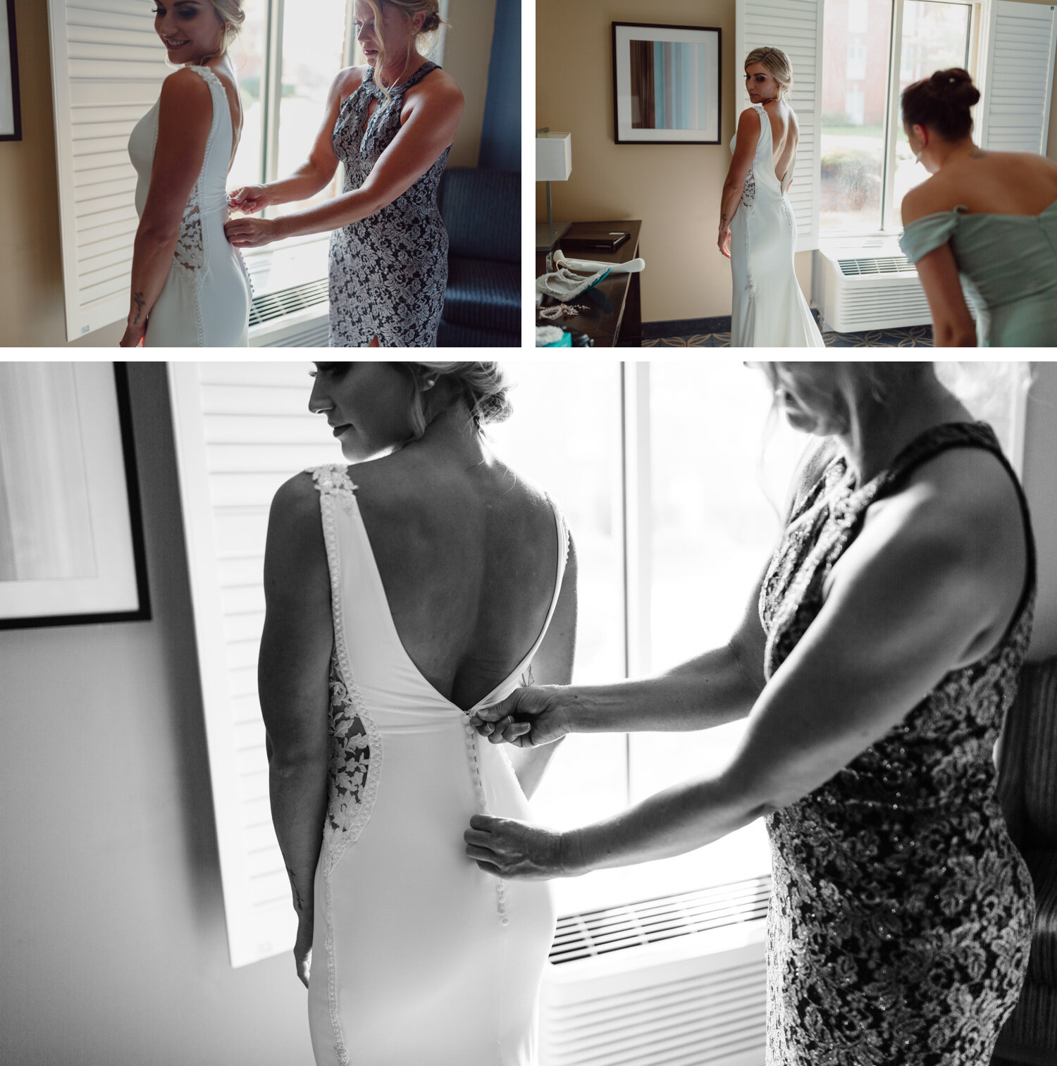 bride being zipped up on wedding day by her mom at nationwide hotel and conference center