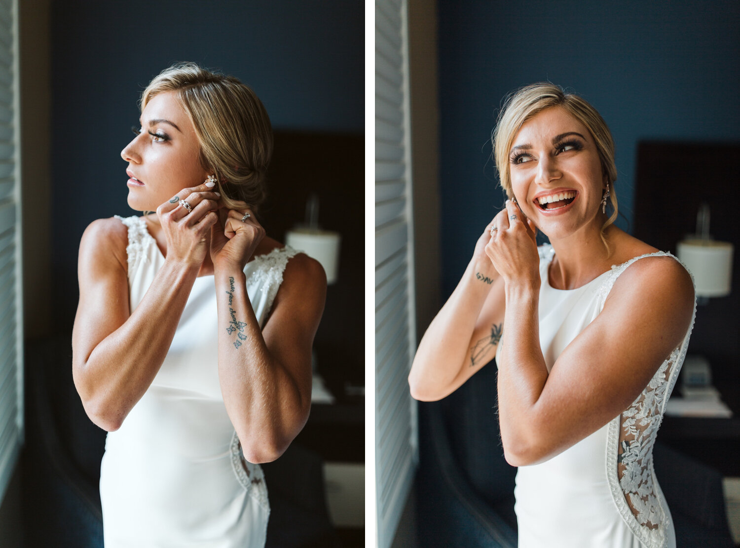 bride putting on jewelry on her wedding day in Ohio