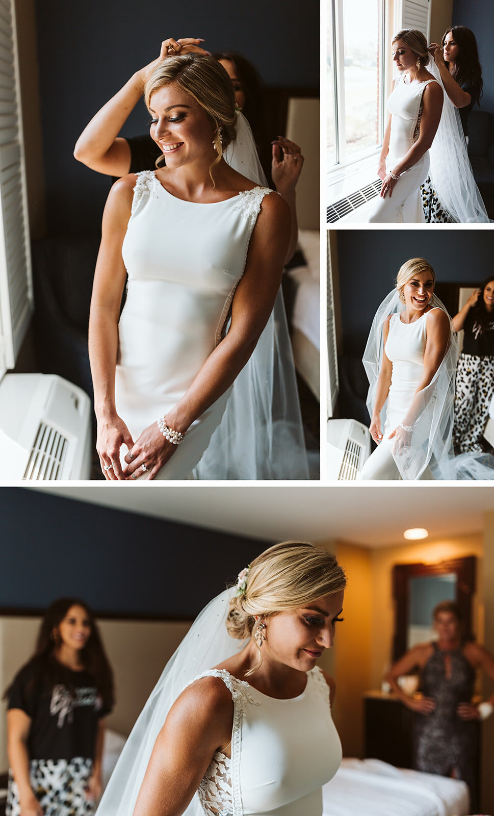 bride putting on veil on her wedding day, at Nationwide Hotel and Conference Center