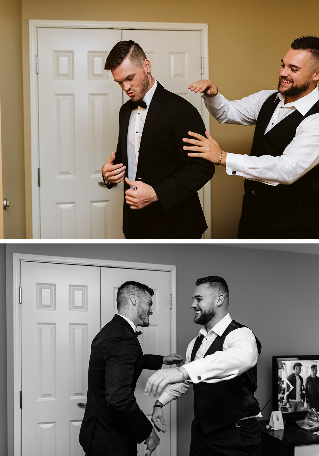 groom getting ready on his wedding day in columbus, ohio