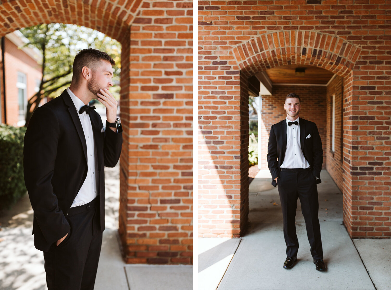 groom portraits on wedding day at Columbus, Ohio Wedding Venue