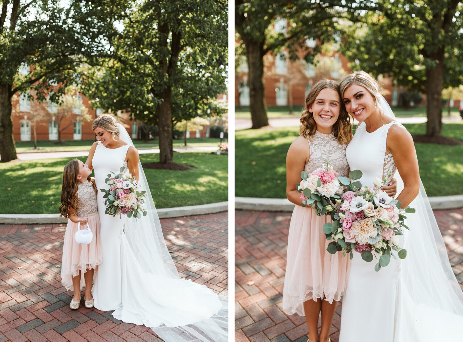 Flower girl and bride posing together
