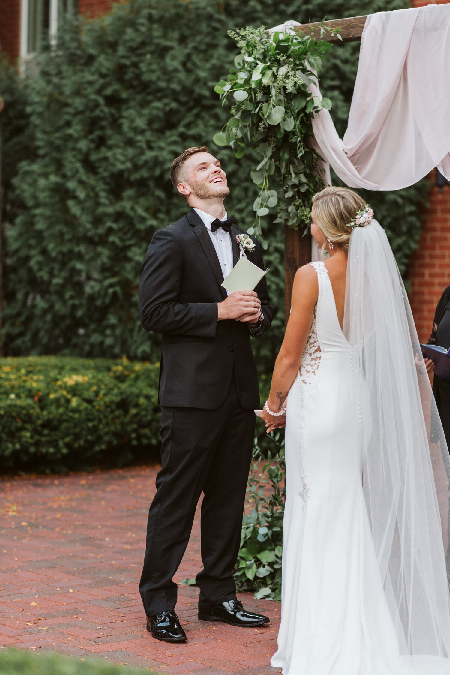Bride and groom share vows