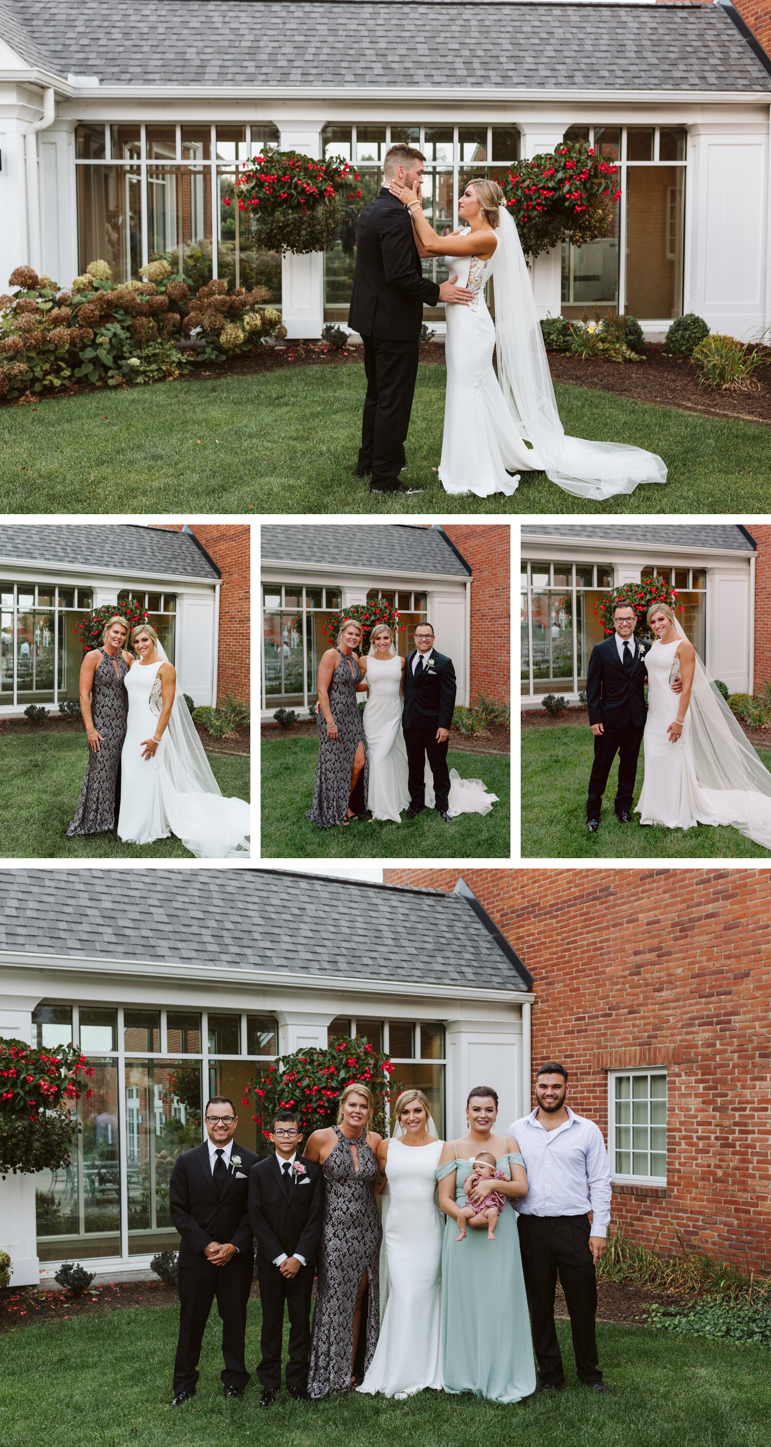Bride posing with family