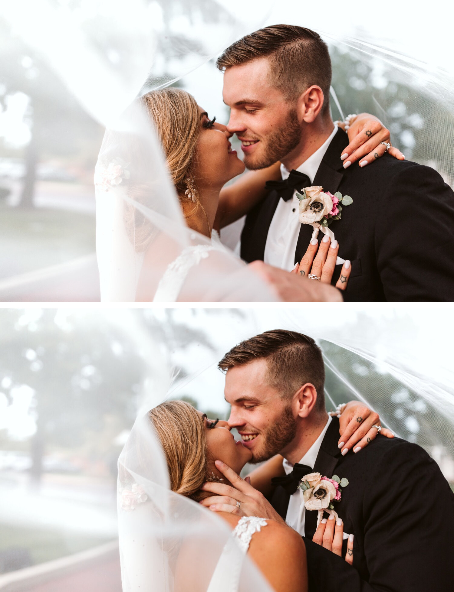 Groom and bride poses