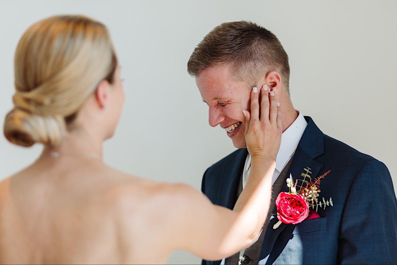 Bride and groom at Loft 310 Kalamazoo