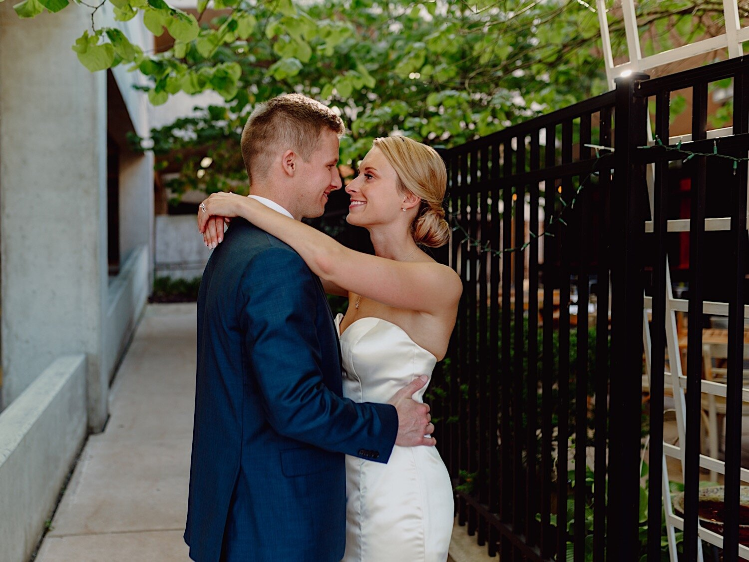 Bride and groom poses