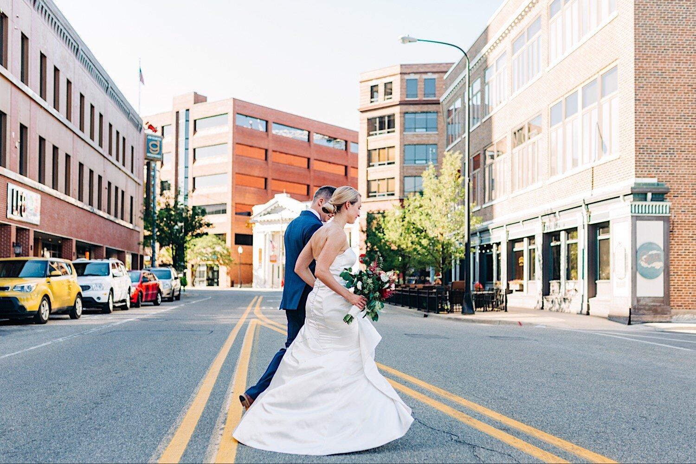 Bride and groom in Kalamazoo