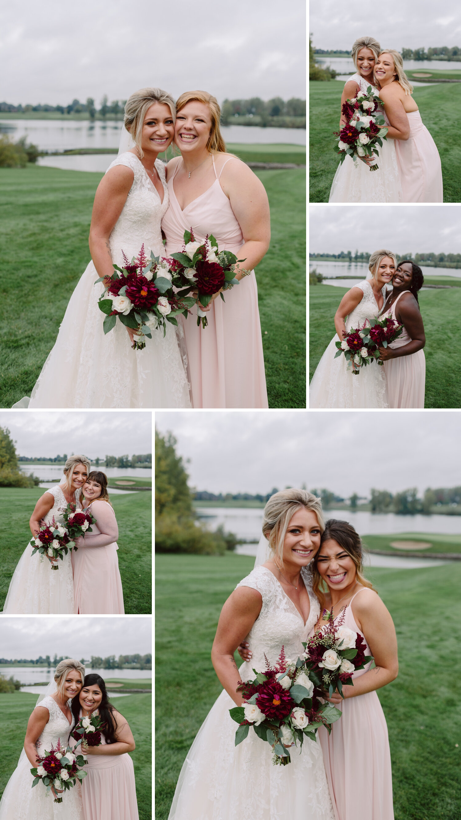 Brides pose with bridesmaids
