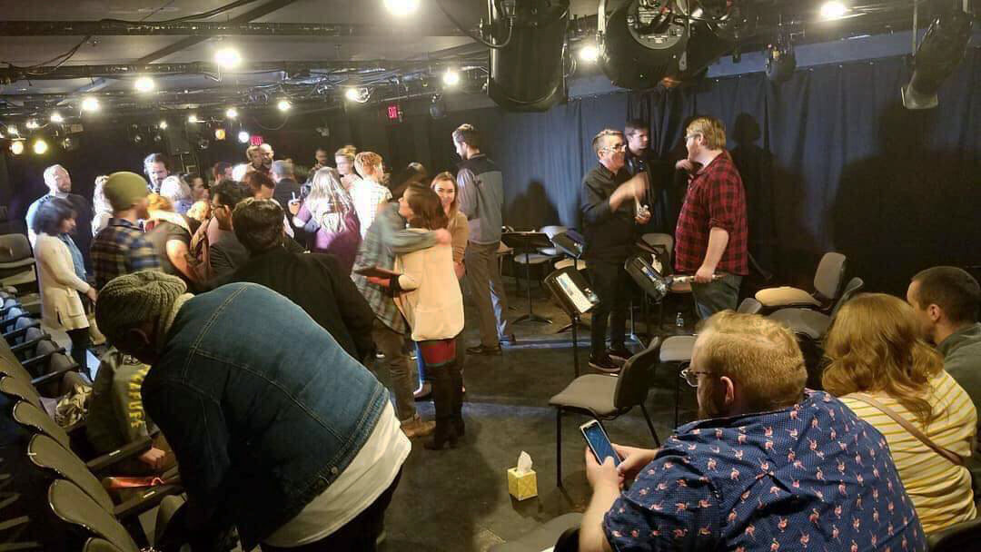 Photo courtesy of Clint Gilbert  Three Seconds  reading at Theatre Three in February 2019