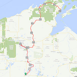 100 Mile Route - 100 miles of scenic, paved Wisconsin back-country roads, several river crossings, and traverses the Continental Divide.