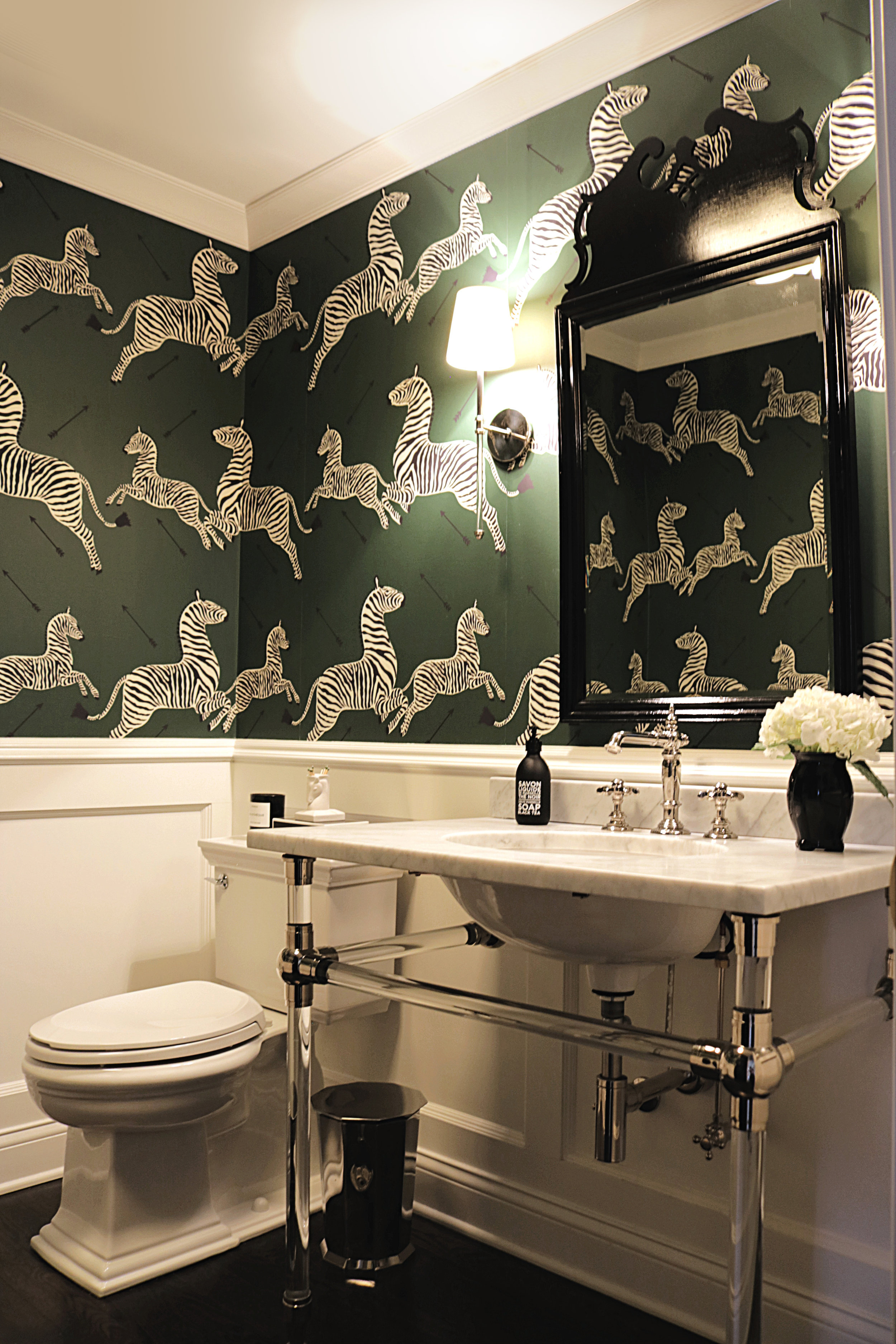 Kelle Dame Interiors Scalamandre zebra wallpaper powder room design black.jpg