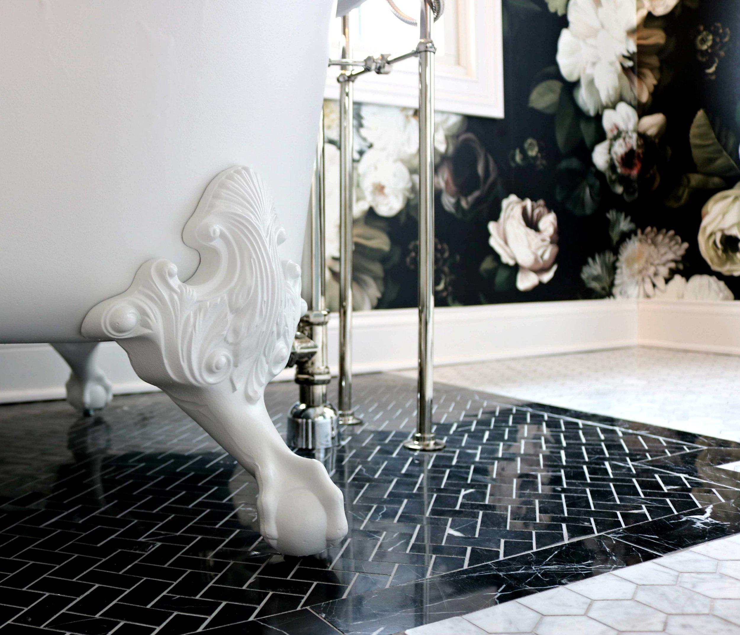 Clawfoot Tub Kohler Black marble Kelle Dame Interiors.jpg