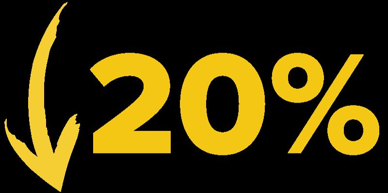 Down 20%