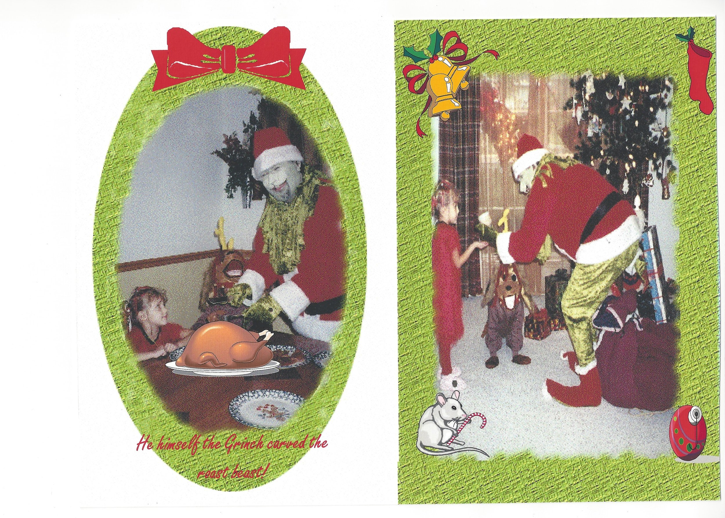 Scan of the Grinch Themed Firulli Family Christmas Card