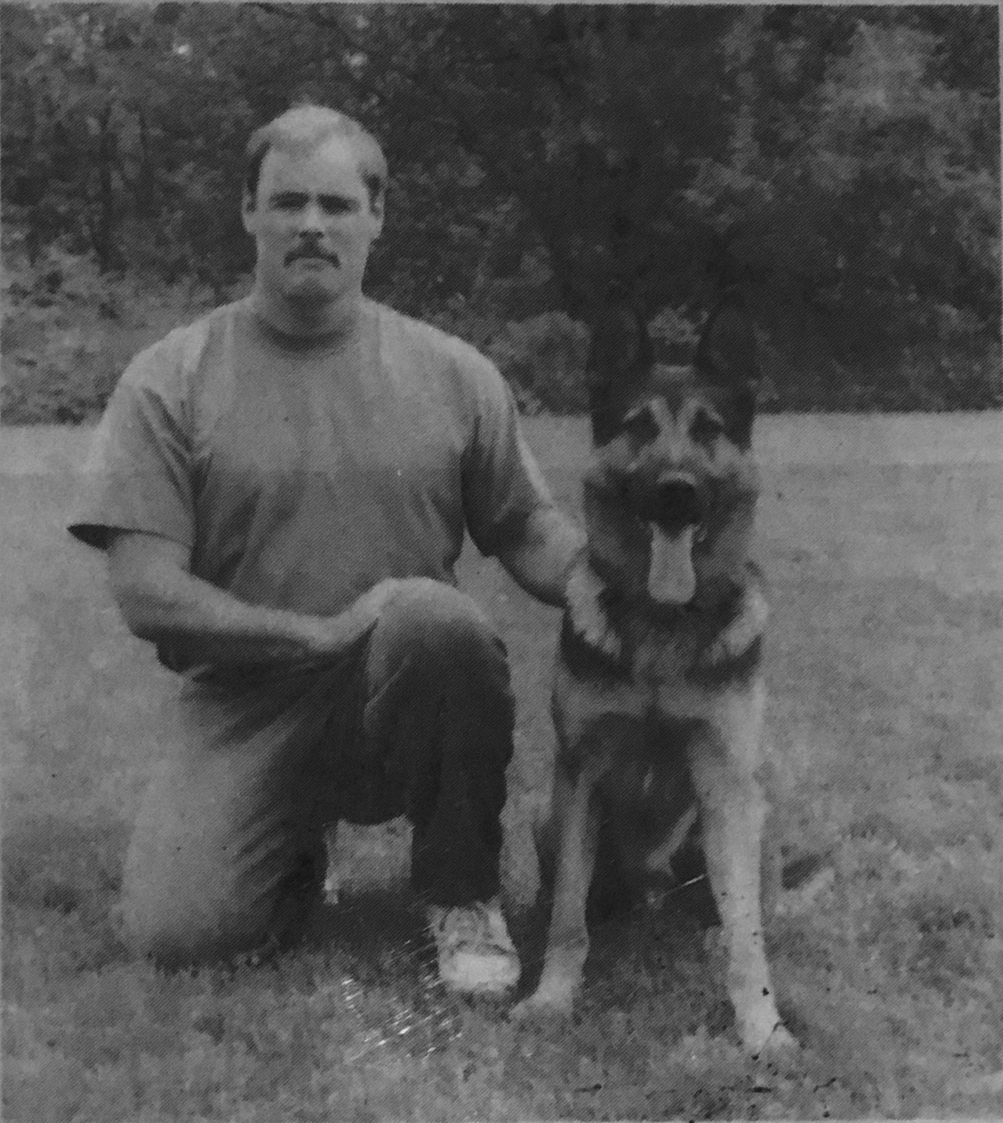 "Photo Courtesy of Pantara Kennels German Shepherd  BASKO,  with his Owner/Trainer  WAYNE CURRY,  Centralia, Will compete with others of his breed in the Pacific Northwest Sport dog Club   20th Anniversary Conformation Show and Breed Survey in August.  BASKO  was recently featured on the cover of  ""DOG SPORTS"" Magazine"