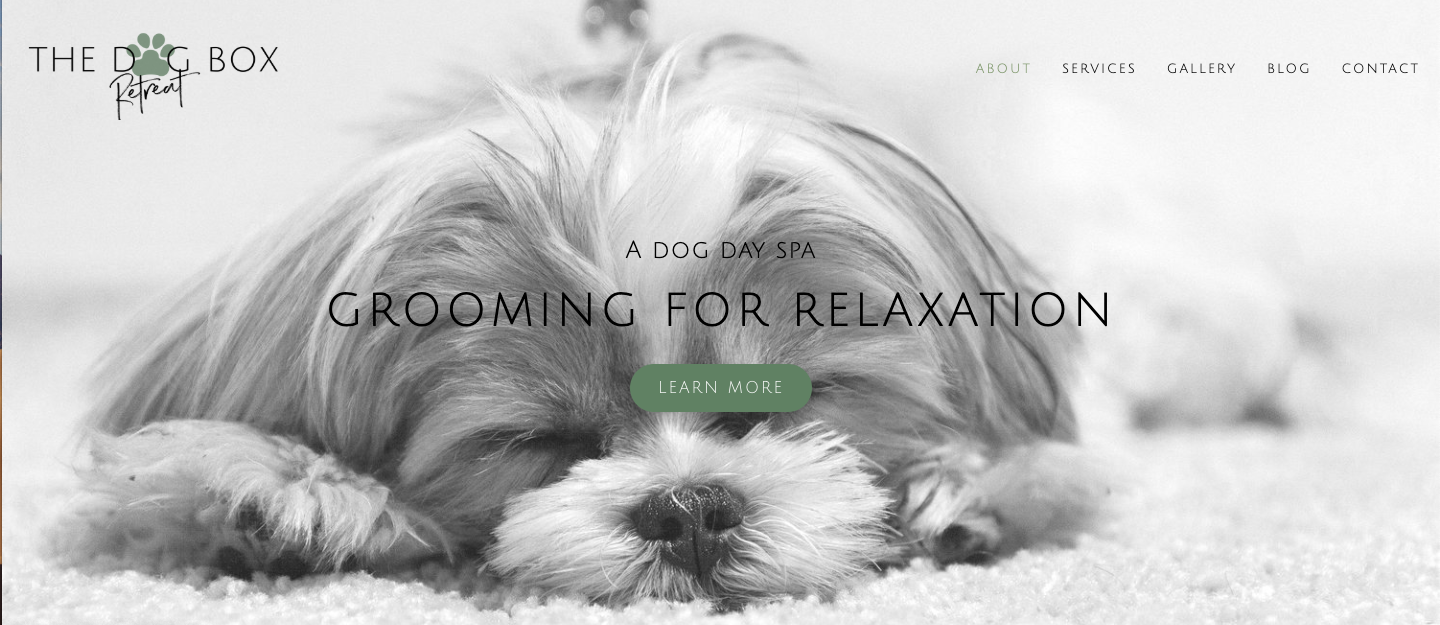 The Dog Box Retreat - Anna (owner) required a website to showcase her services. An online space that tells The Dog Box Retreat story and gives all the dog day spa vibes.This is a custom package. A bit of a mix between the Kickstarter and Premium investment options.