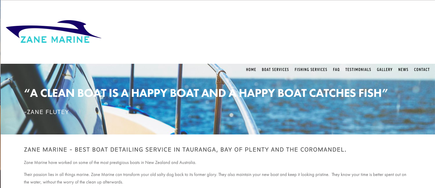 Zane marine - Zane needed a website with a clear message. Boats + Fishing! Zane Marine also had some extensive SEO.Zane Marine is ranking result 1-5 in SERPs for the marine detailing industry.