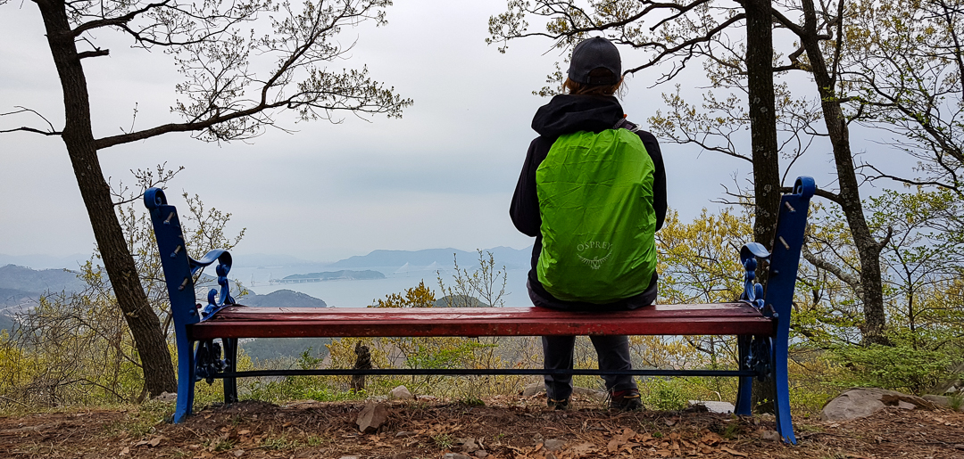 Taking in the view on the old bench.