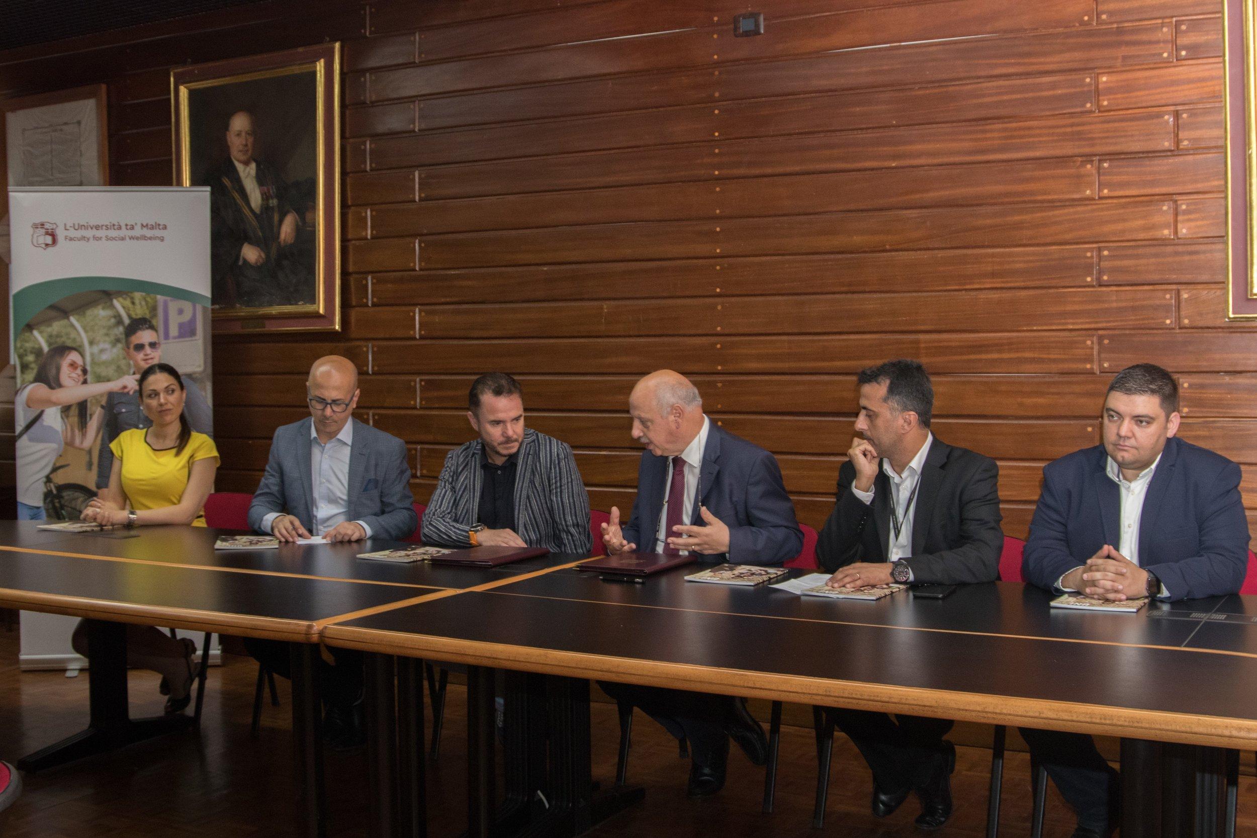 Left to right - Dr Maria Brown, Alfred Zammit, Mark Weingard, Prof. Alfred J. Vella, Prof. Andrew Azzopardi, Prof. Alexiei Dingli