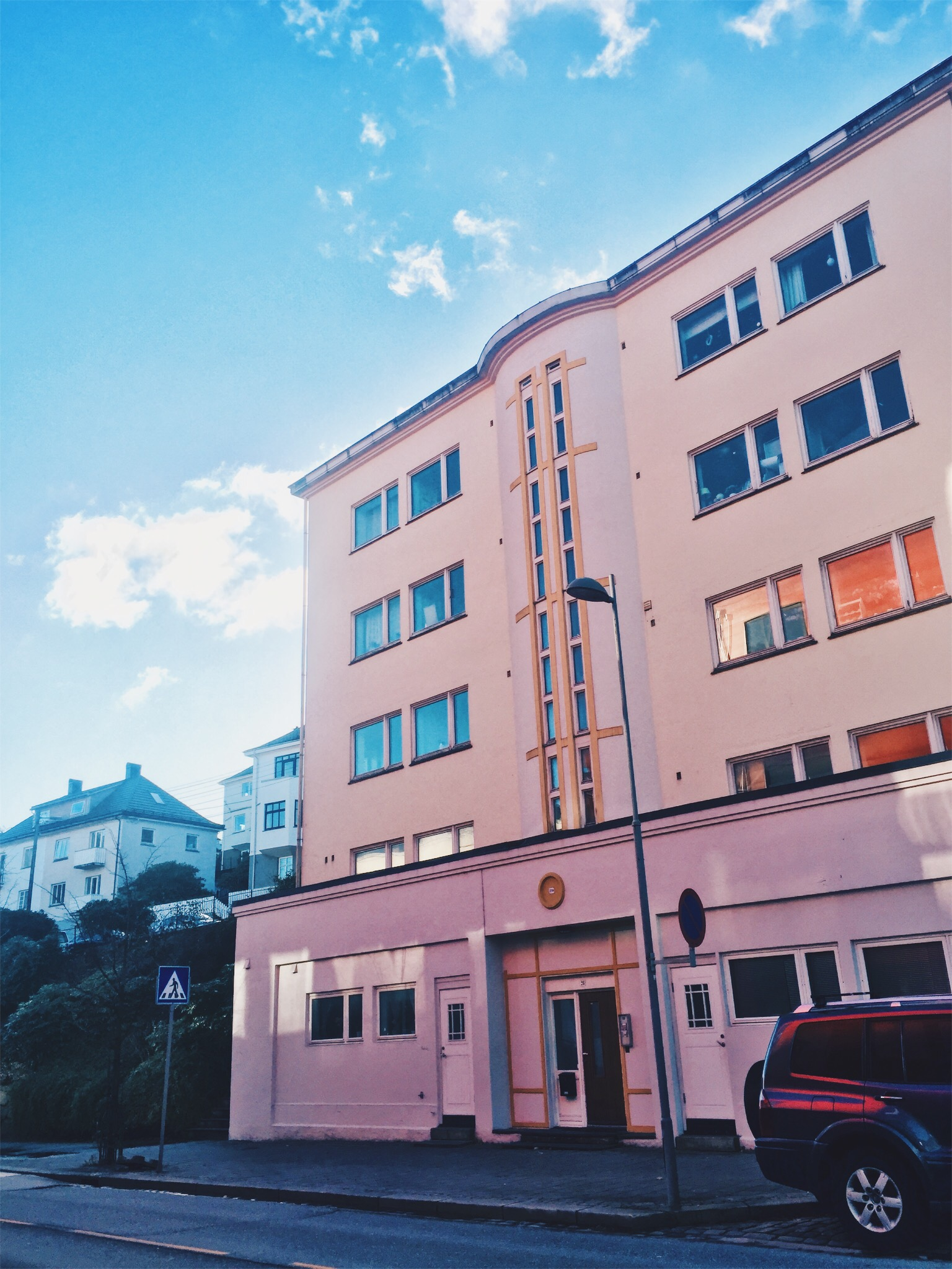 Can't believe I never noticed the pink building I am staring at every day while waiting for the bus....jpg
