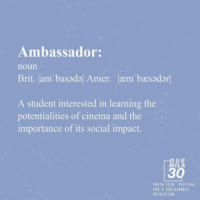 Are you an Ambassador? Workshops, panel and masterclass to guide you in expanding your awareness and understanding the medium and its social impact.  If this sounds like you come join us for the three days of free workshops. Find out more: www.quindici19.com  #duemila30 #secondedition #internationalfilmfestival #filmfestivalmilano #milano2019