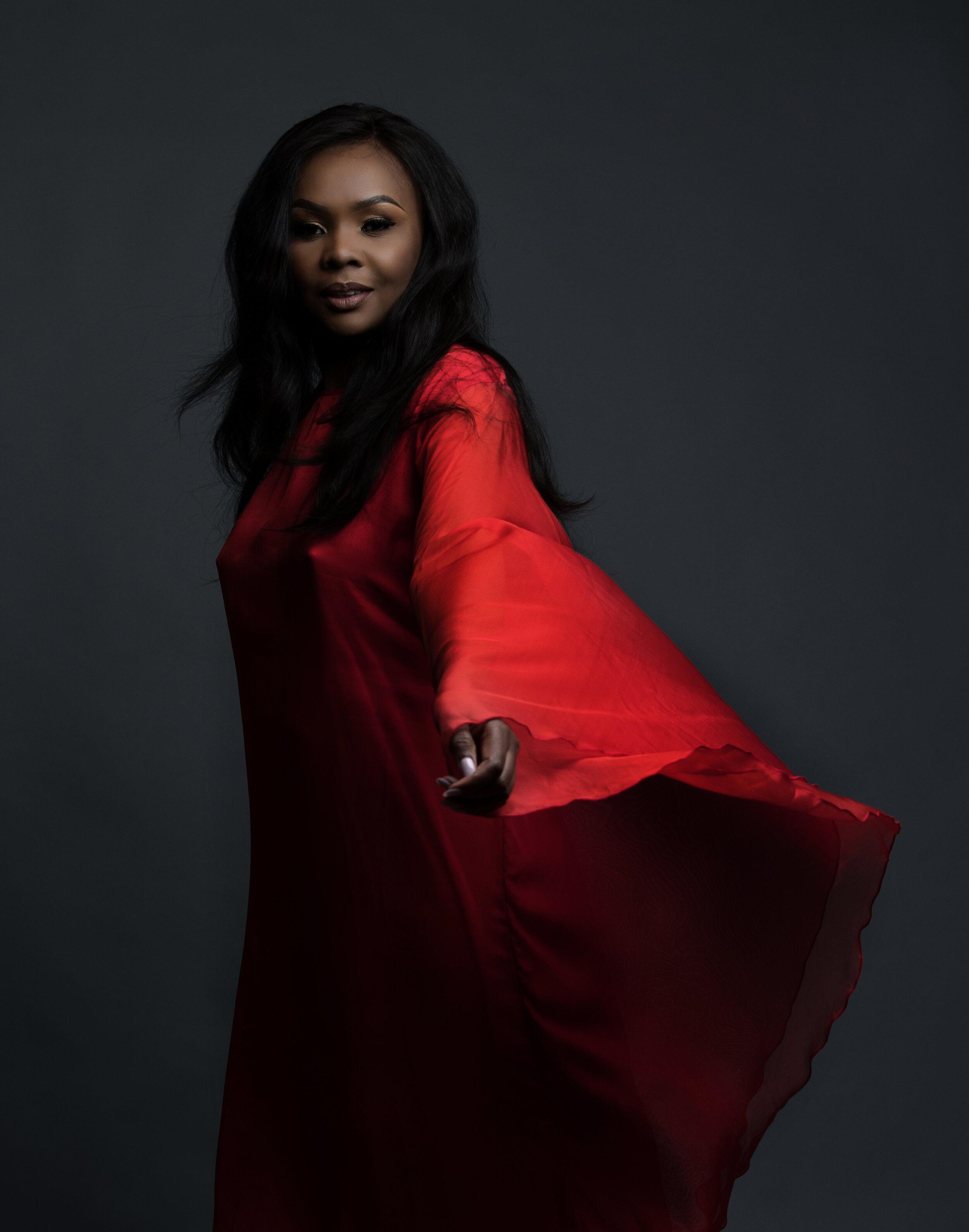 Red silk kaftan evening dress £450  Silk chiffon  Silk satin lining  Dry clean only