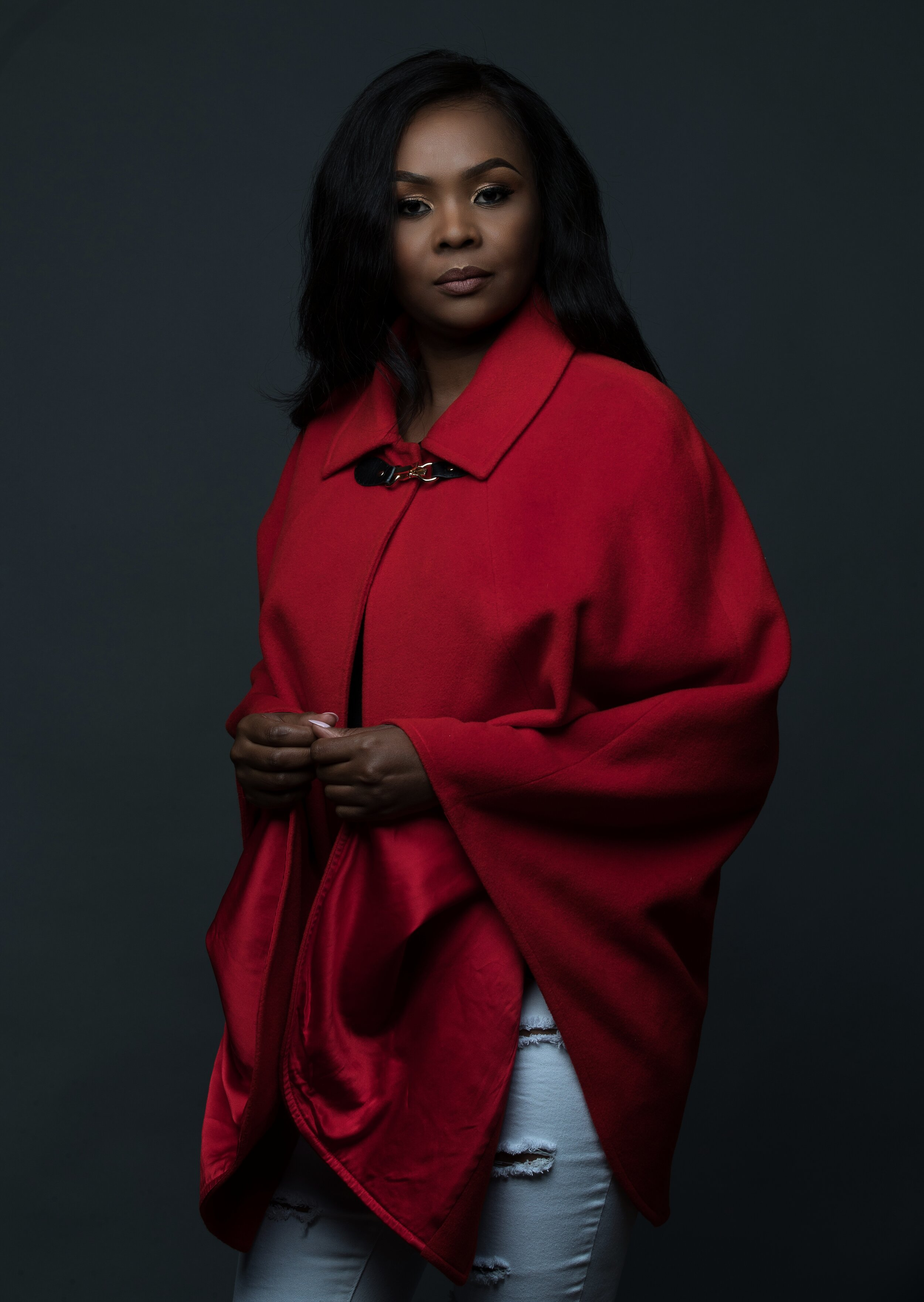 Silk & wool red cape, £499  Silk lined  Dry clean only