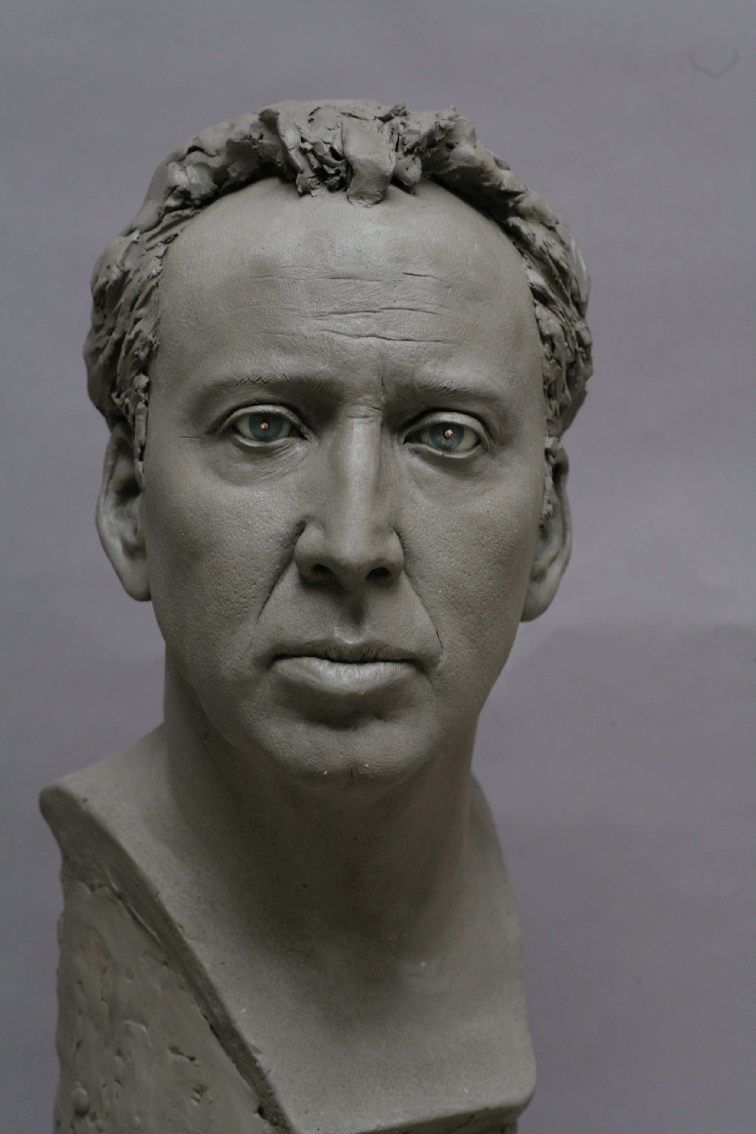 Clay sculpture by Eric Saint Chaffray - Nicolas Cage - Credit Musée Grévin
