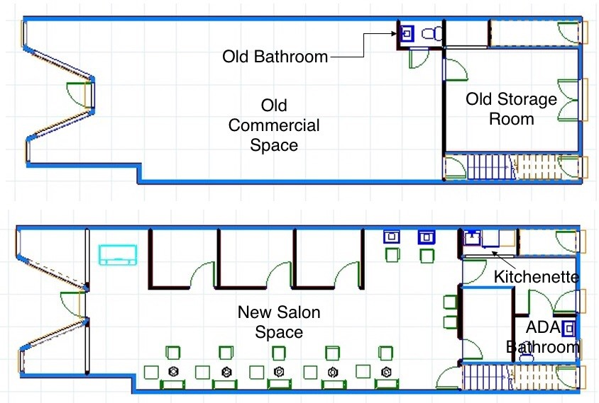 First Floor Commercial Space Improvements - A new ADA compliant bathroom along with a kitchenette tucked under an existing staircase are just two of the improvements that were designed as part of this renovation to change an empty storefront into a cutting edge salon.