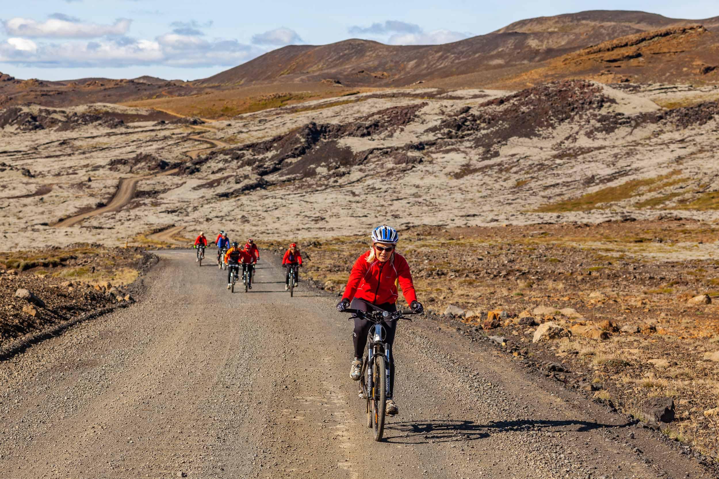 Mountain biking through lava flows
