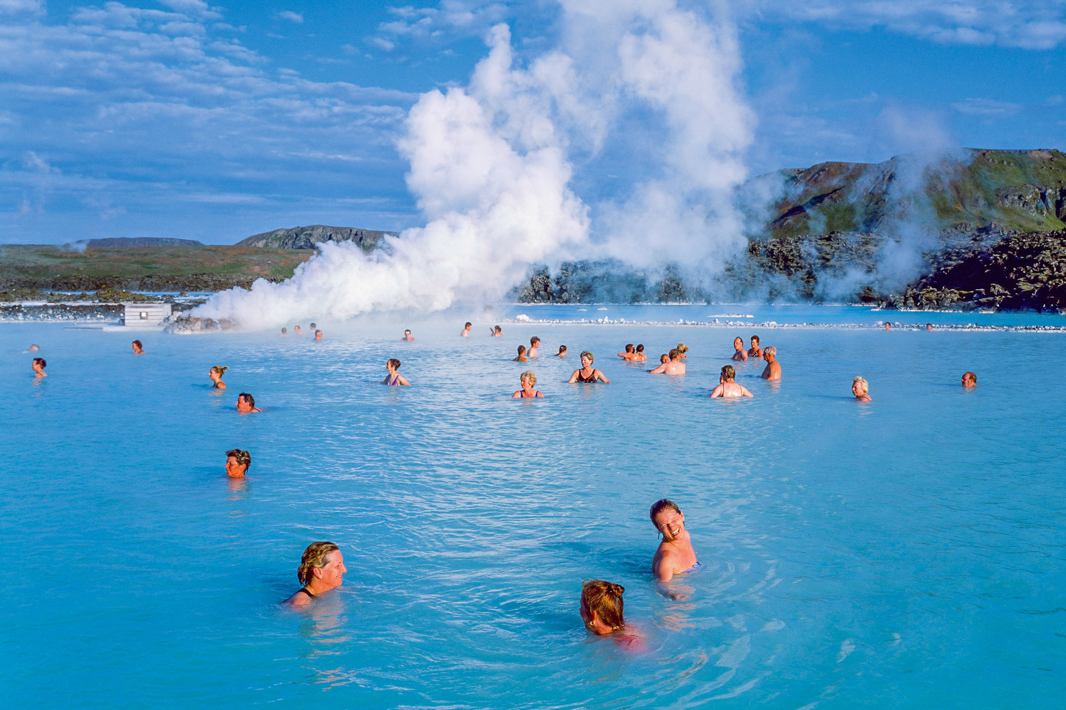 Swimming in the Blue Lagoon, Iceland.
