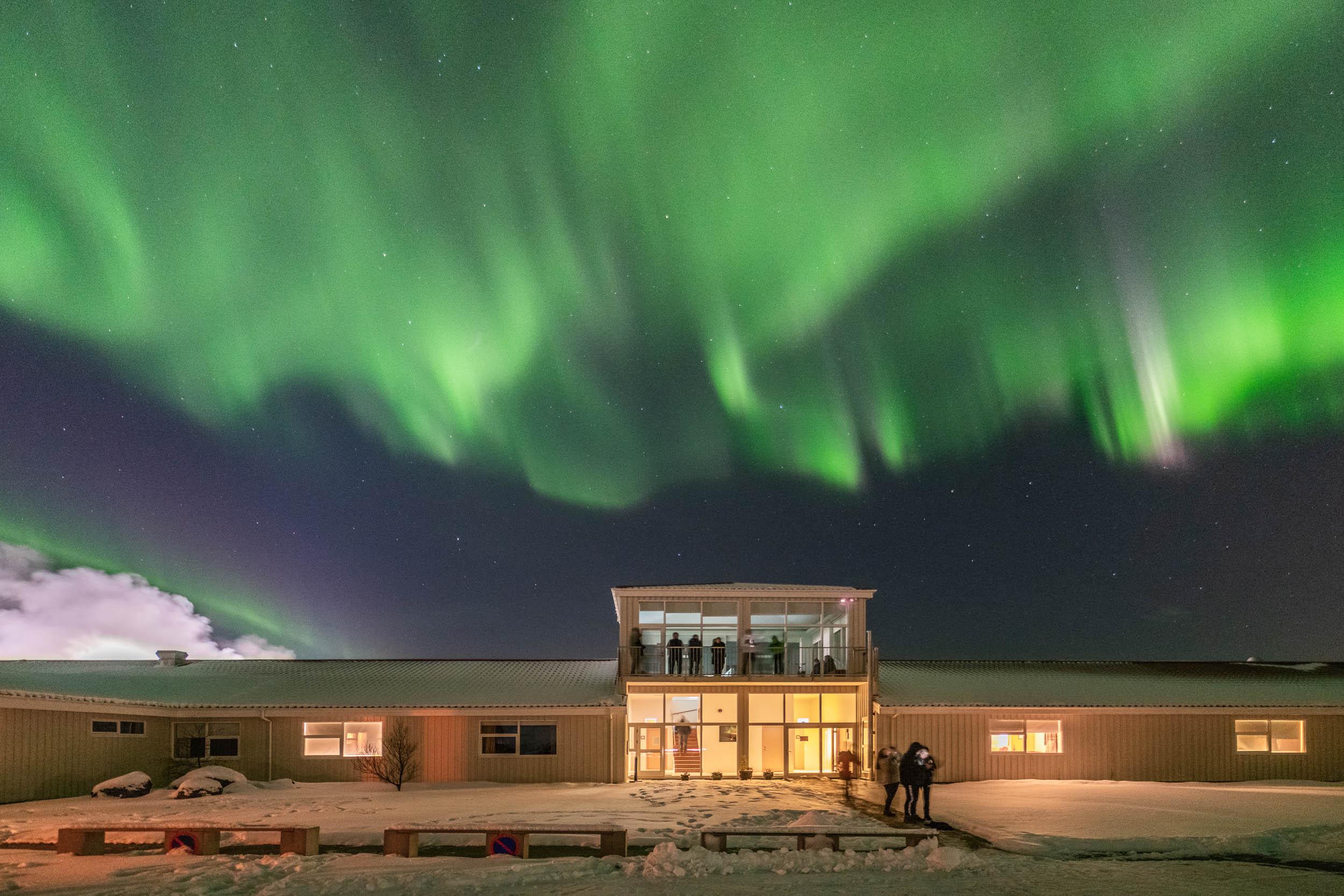 Aurora Borealis aboveNorthern Light Inn's Galaxy Tower.
