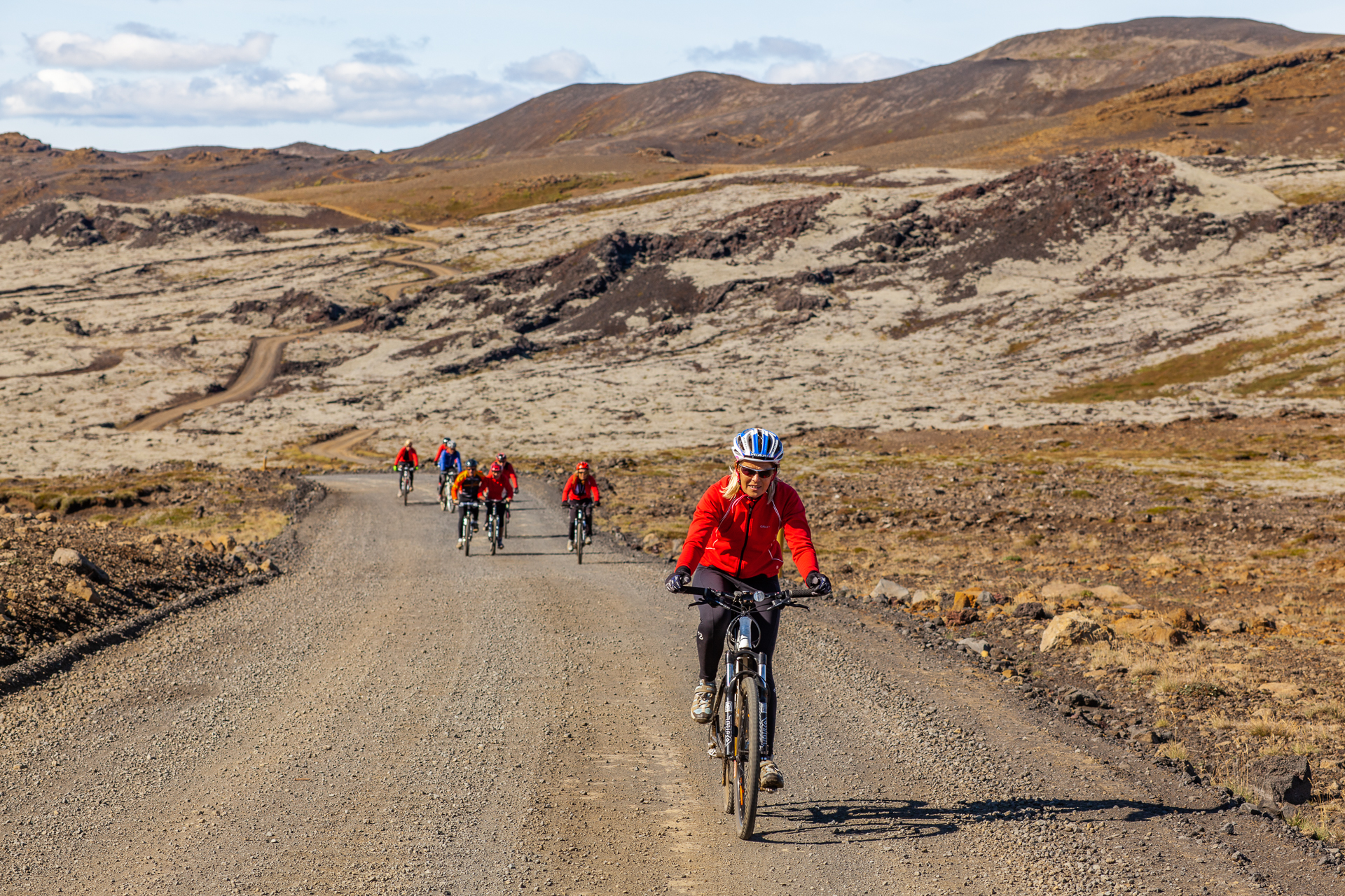 Mountain biking through lava flows