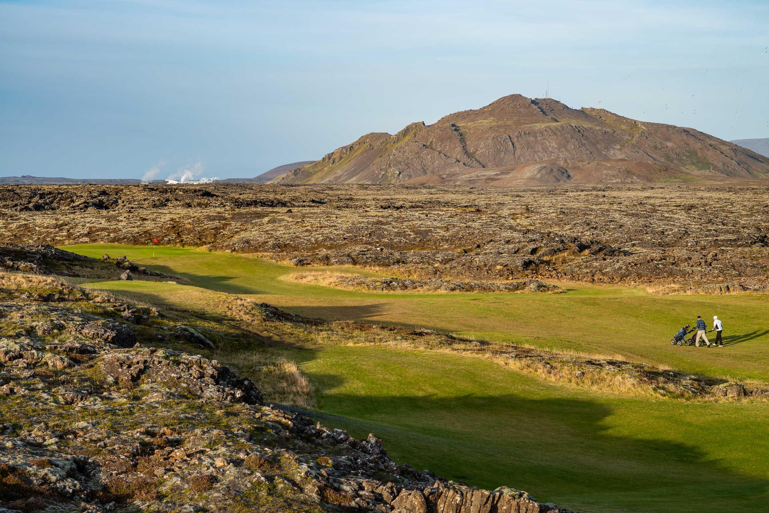 Golfing in lava fields, Grindavik, Iceland