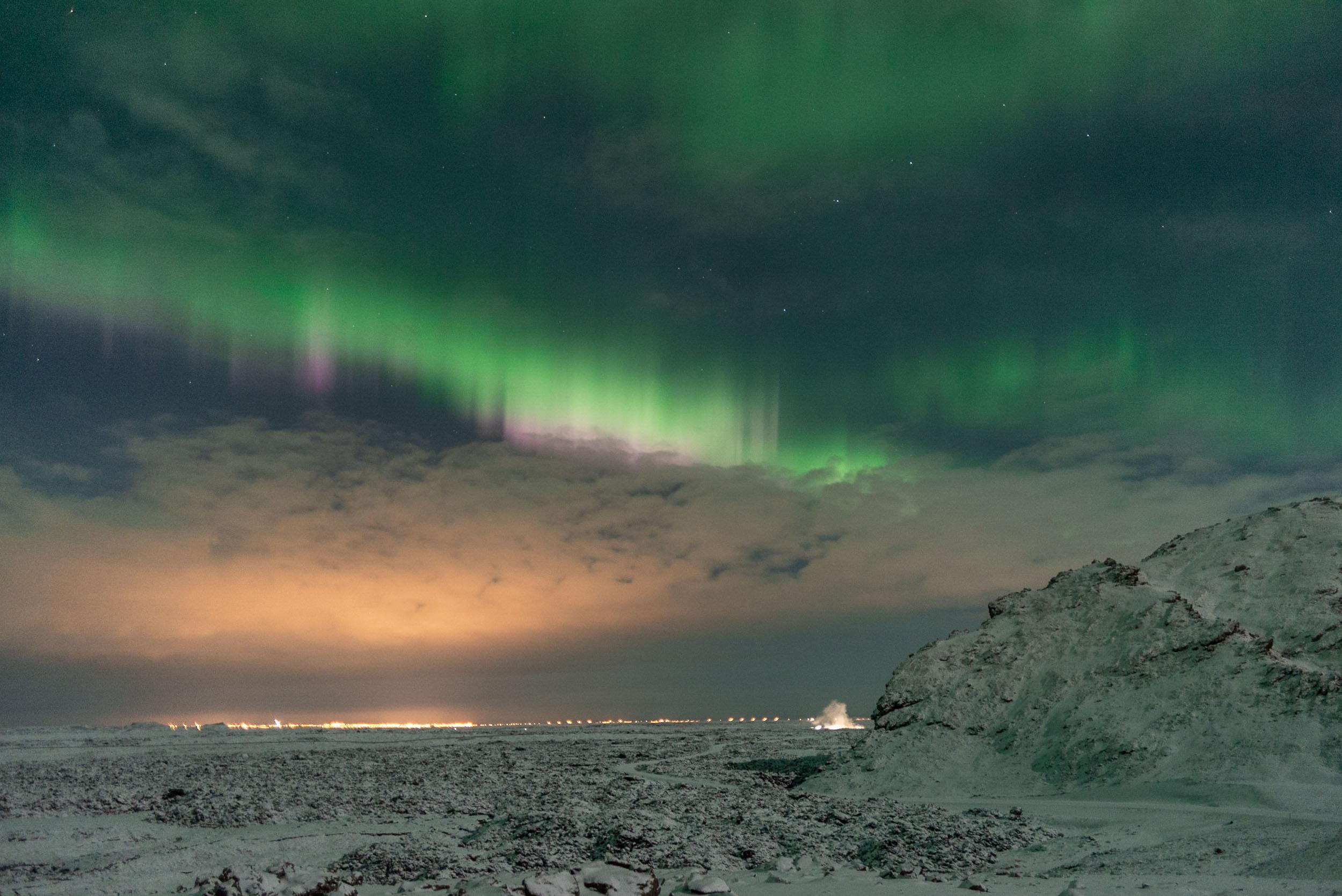 Aurora above Northern Lights Road