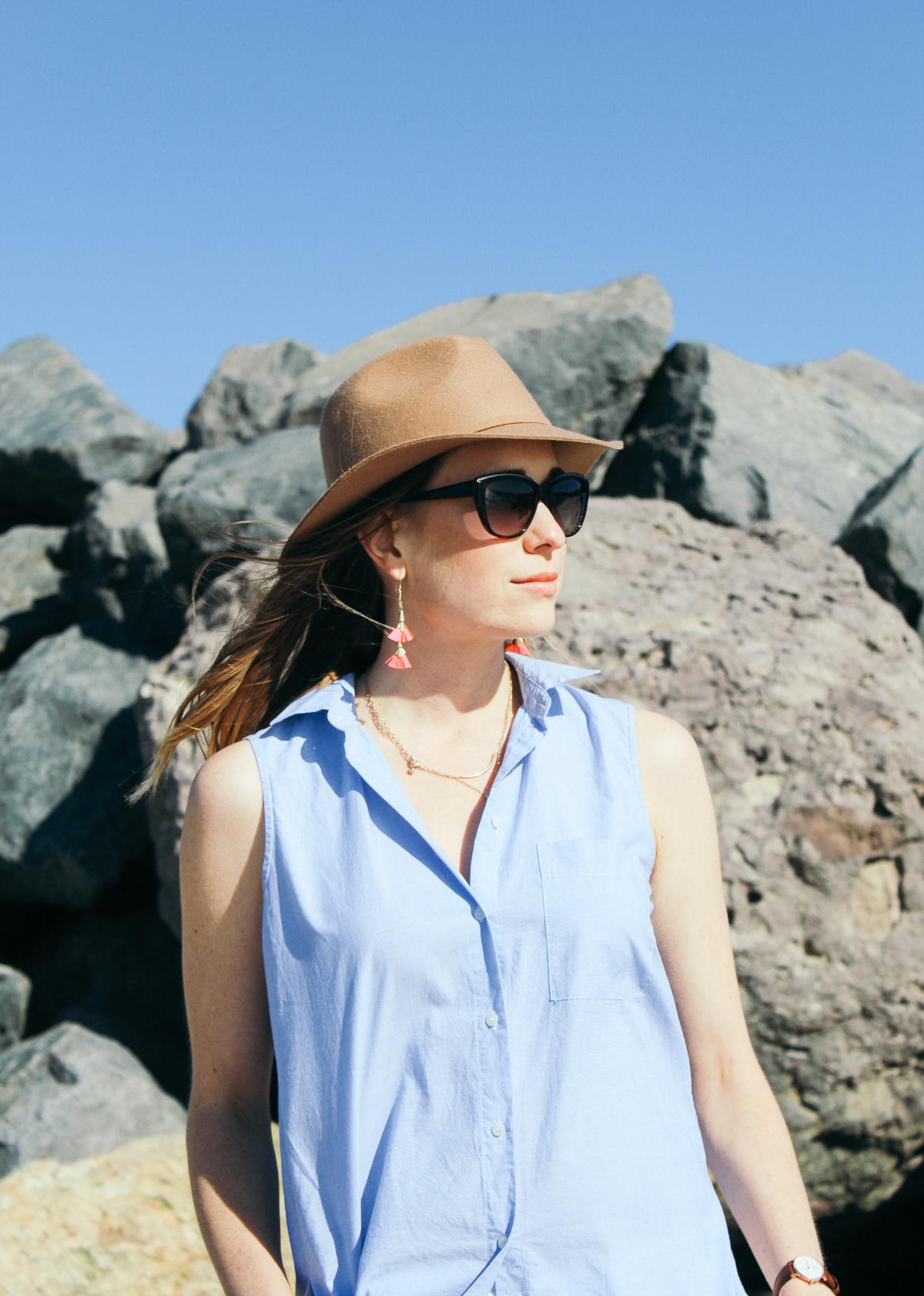 fringe earrings, felt hat, ted baker sunglasses, sunnies, fun earrings, statement earrings