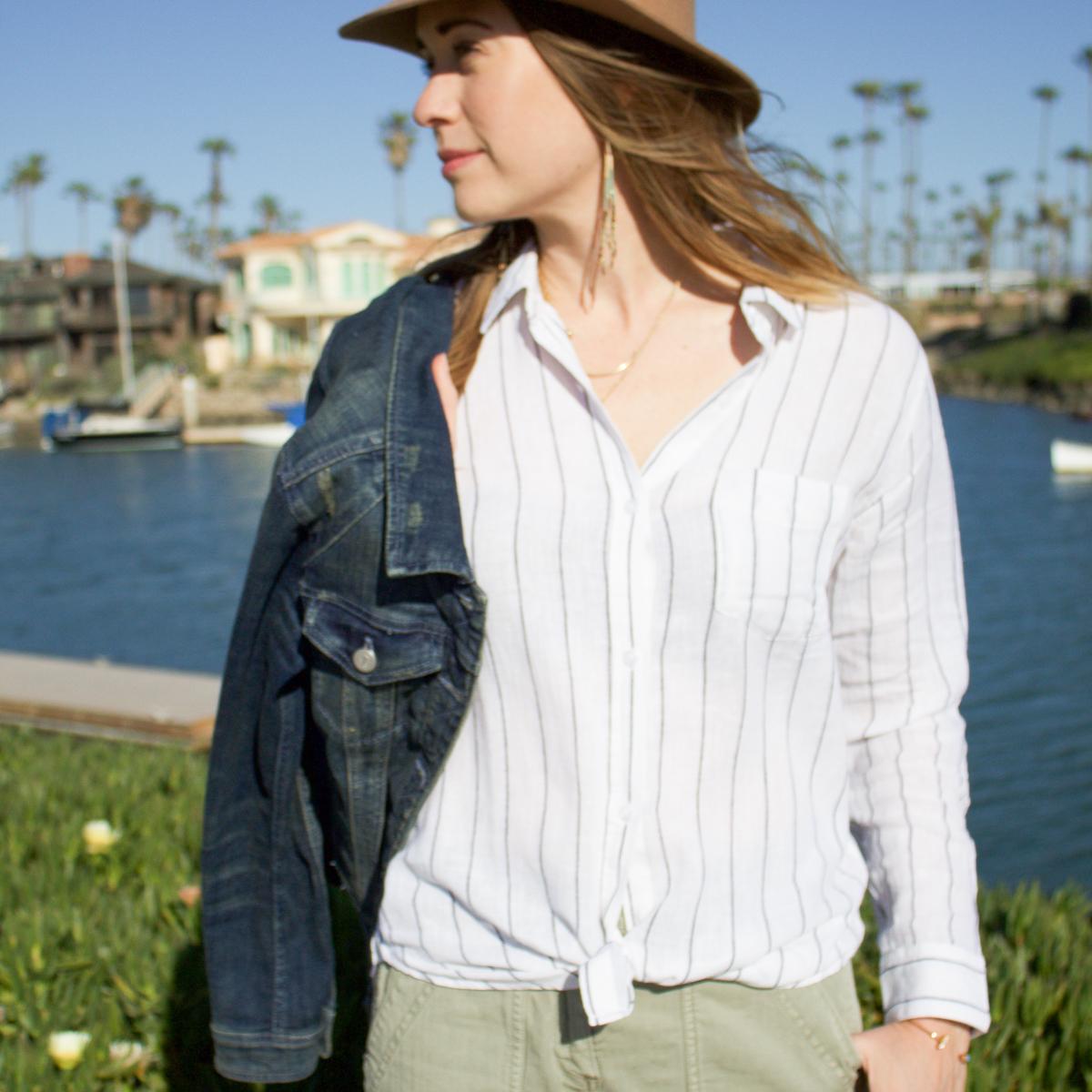 Trunk club for women, Rails button-up shirt, striped shirt, linen shirt, beach style, resort style, denim jacket, fringe earrings