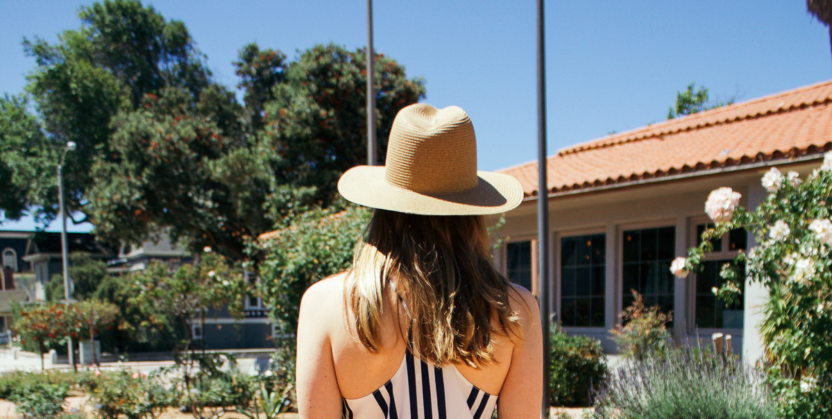 Bishop + Young striped dress, Stacked, navy and white dress, Madewell straw hat, straw hat, summer style