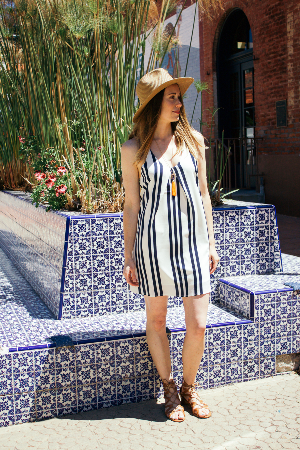 Bishop + Young striped dress, Stacked, navy and white dress, tassel necklace, JCrew necklace, Madewell straw hat, straw hat, summer style, Corso Como sandals, lace up sandals,
