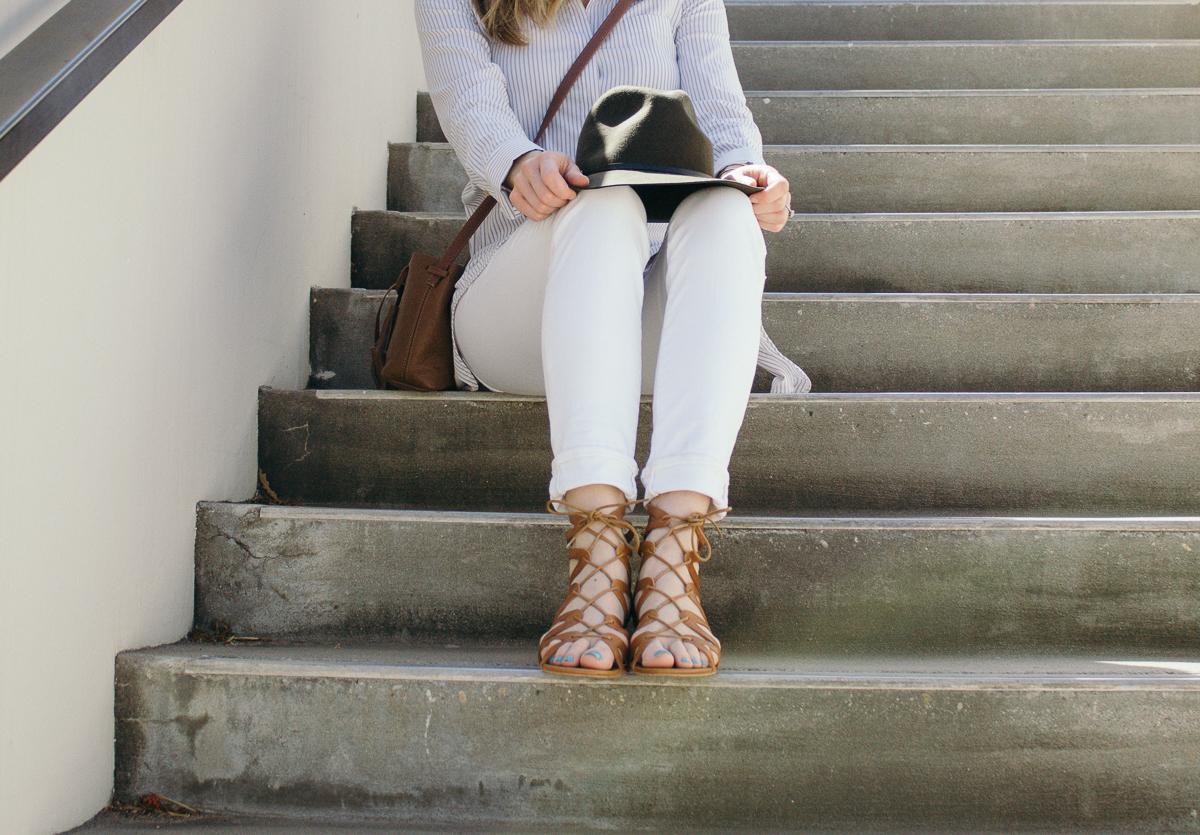 JCrew white denim, white jeans, lace up sandals, corso como lace up sandals, topshop, topshop felt hat, Olivia Palermo striped shirt, Shaeffer LA bucket bag