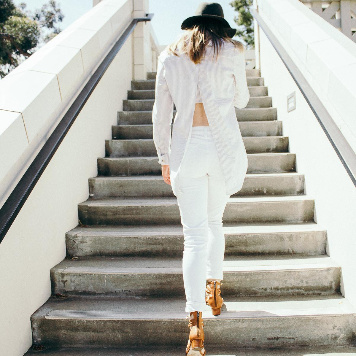 JCrew white denim, white jeans, lace up sandals, corso como lace up sandals, topshop, topshop felt hat, Olivia Palermo striped shirt